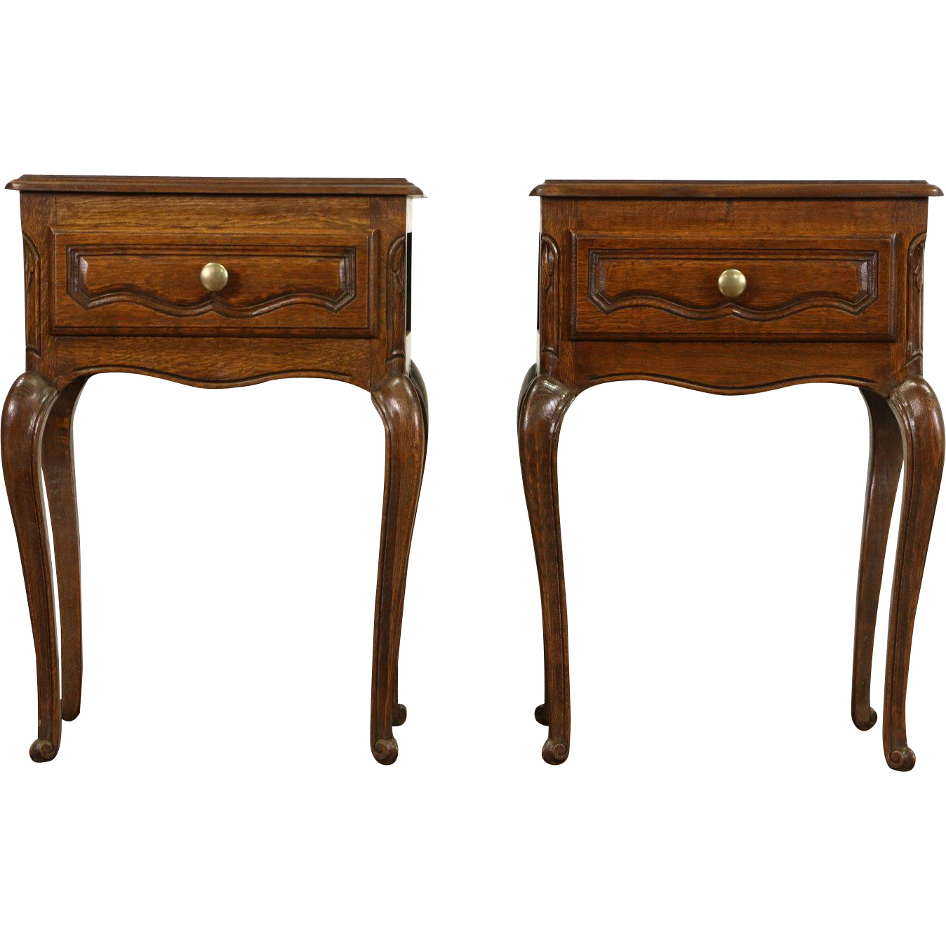 Pair of Country French 1925 Antique Hand Carved Oak Nightstands