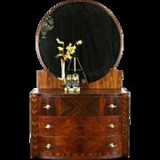 Art Deco 1930 Vintage Chest or Dresser & Mirror, Matched Burl