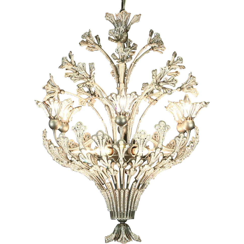 Pewter Vintage 12 Light Chandelier, Lucite Jeweled Prisms