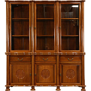 Asian Vintage Hand Carved Rosewood China or Curio Cabinet, Thailand
