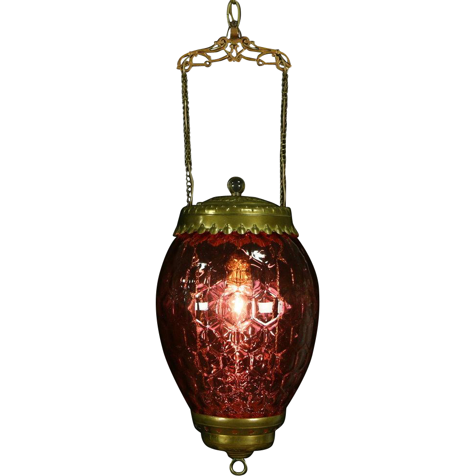 Victorian 1880's Antique Honeycomb Cranberry Glass Hall Light, Electrified