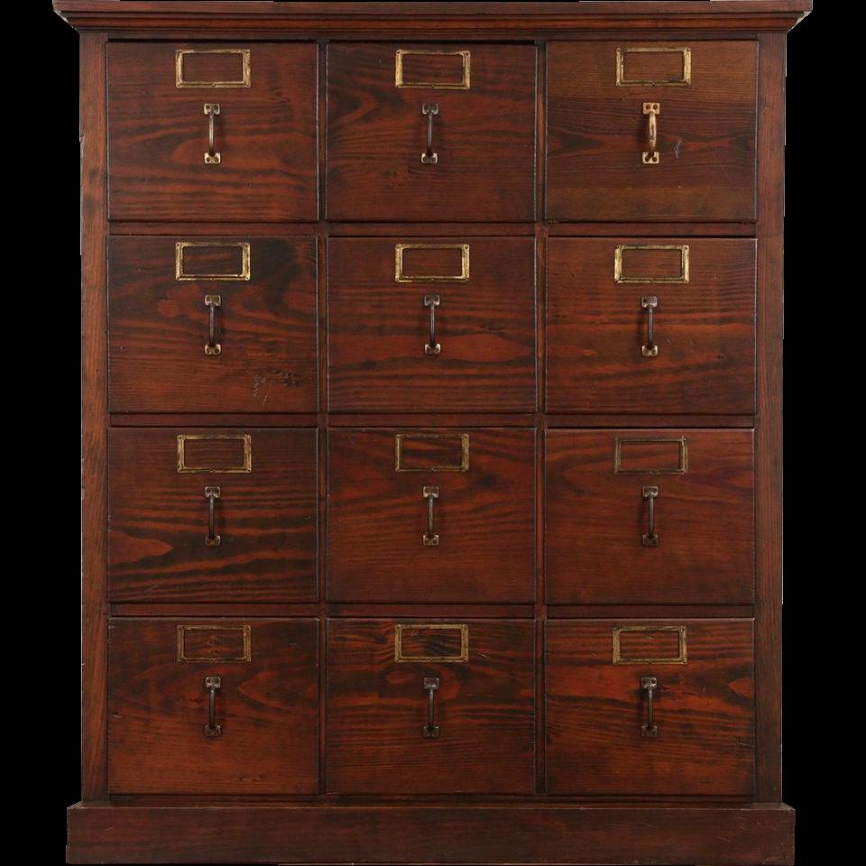 Pine 12 Drawer 1910 Antique Standard Size File Cabinet