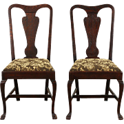 Pair of Oak 1900 Antique Side Chairs, Paw Feet, New Upholstery