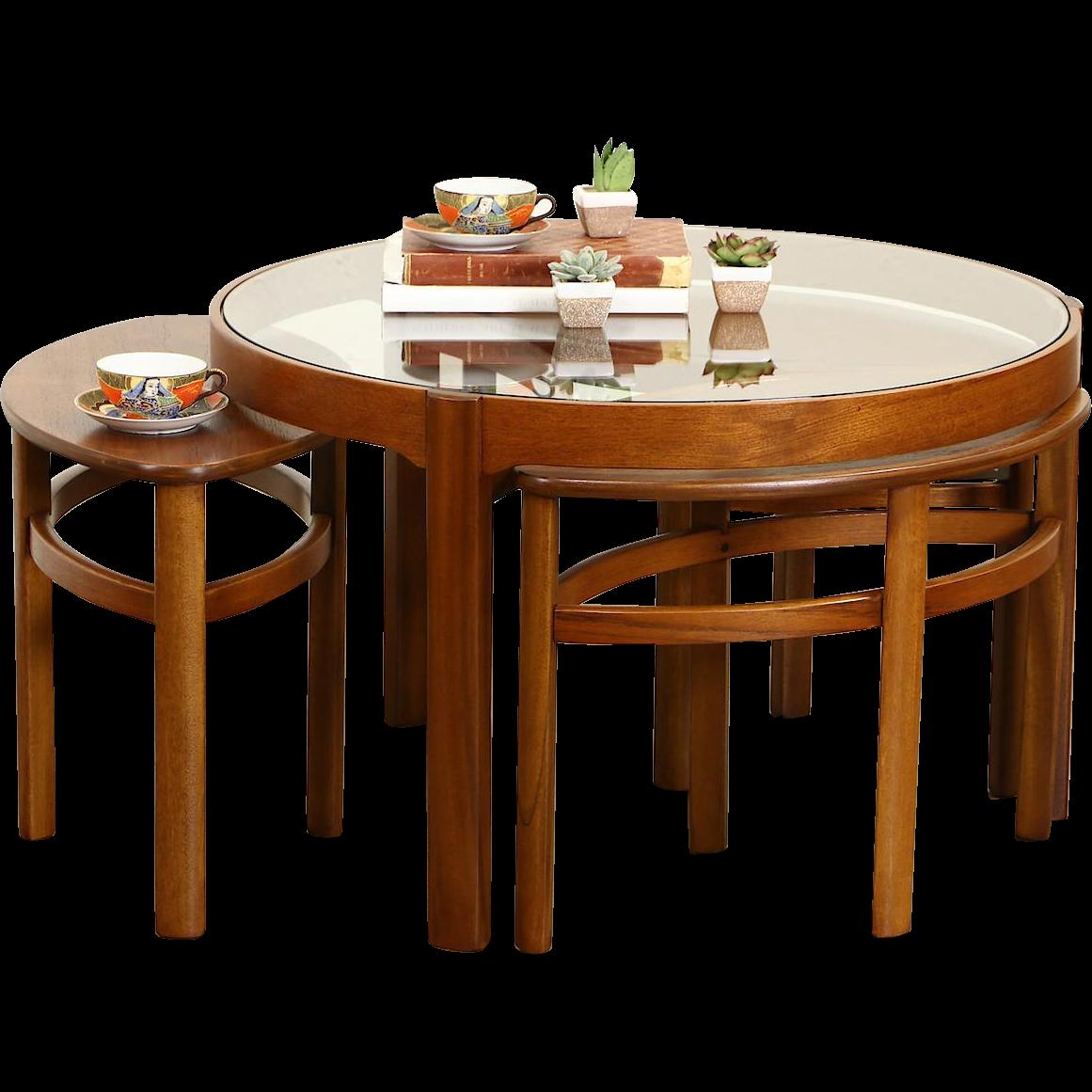English Midcentury Modern 1960 Vintage Teak Coffee & Nesting Tables Set