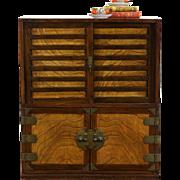 Chinese 1890's Antique Pine & Ash Tea Cabinet, Brass Mounts
