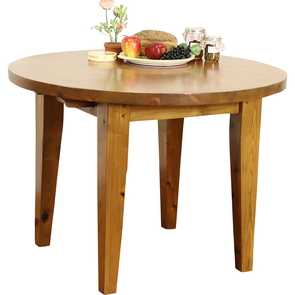 Round Country Pine Vintage Breakfast, Game or Dining Table