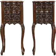Pair 1930's Vintage Carved Walnut Nightstands