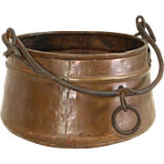 Turkish Hand Made Copper Pot, Wrought Iron Handle