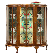 English Art Deco 1930's Vintage Curio Display Cabinet, Stained Glass Light