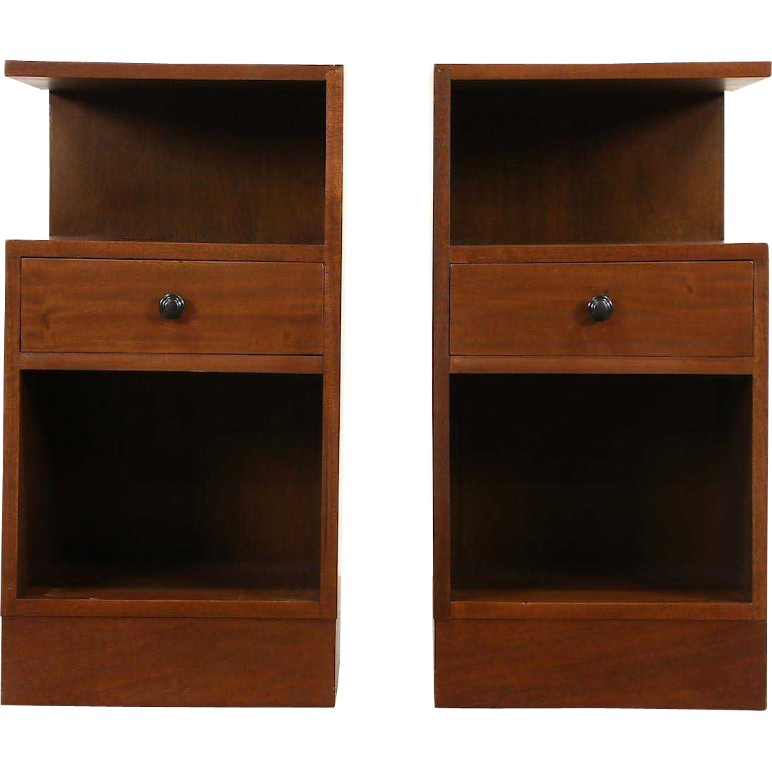 Pair Midcentury Modern English Mahogany Nightstands, 1960 Vintage