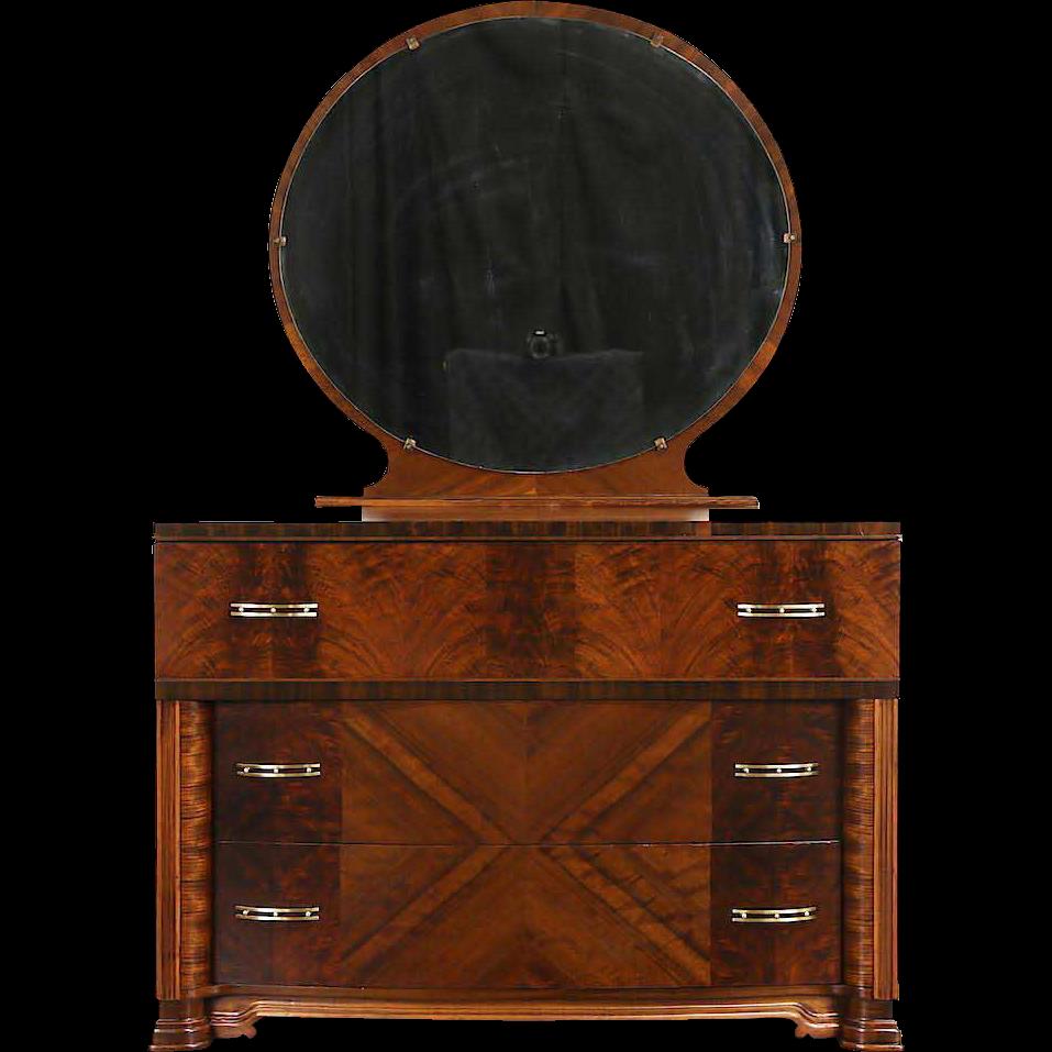 Art Deco 1935 Vintage Matched Burl Dresser & Mirror, Original Brasses