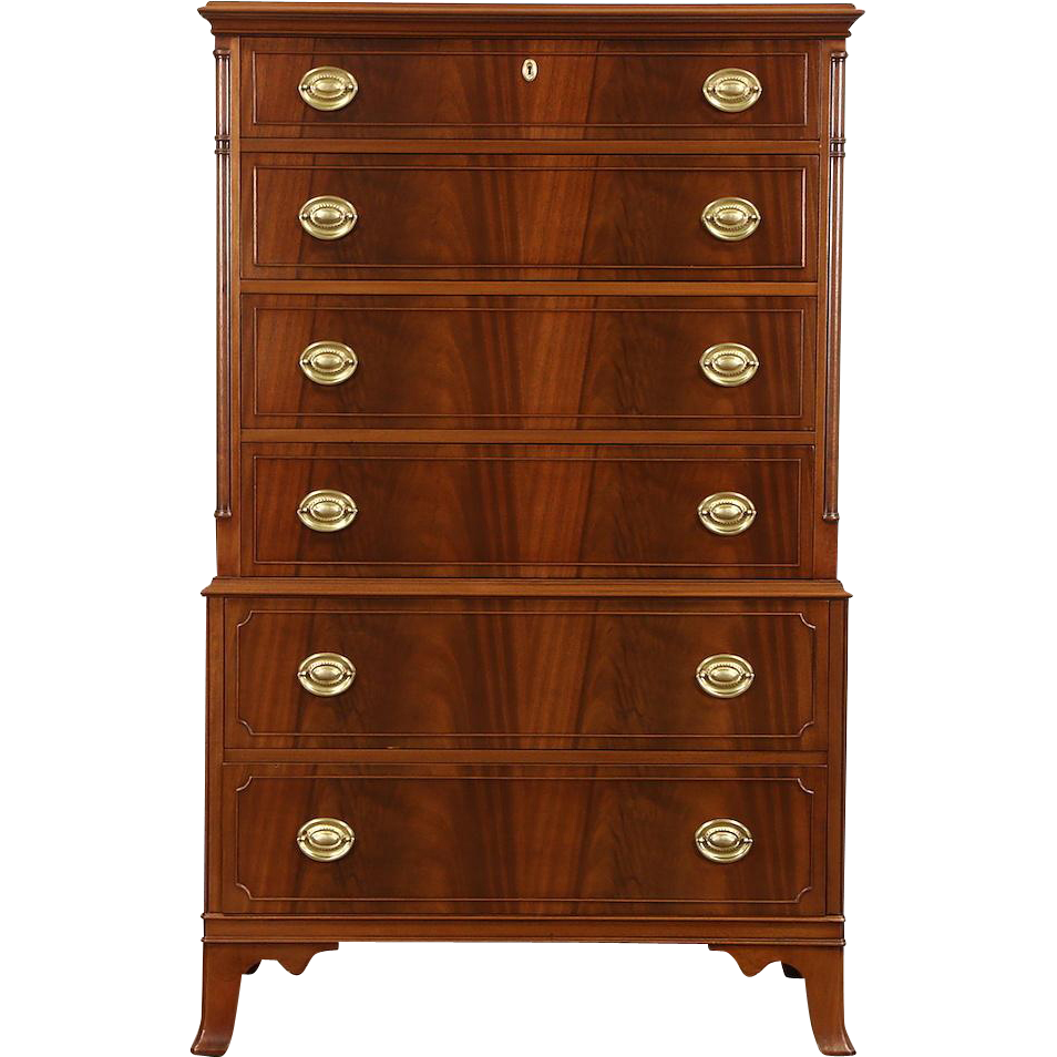 Georgian Berkey & Gay Signed 1930's Vintage Highboy or Tall Chest on Chest