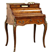 French Tulip & Rosewood Marquetry Vintage Roll Top Secretary Desk, Bronze Mounts