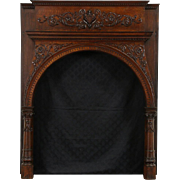 Romanesque 1880 Antique Architectural Salvage Oak Fireplace Mantel