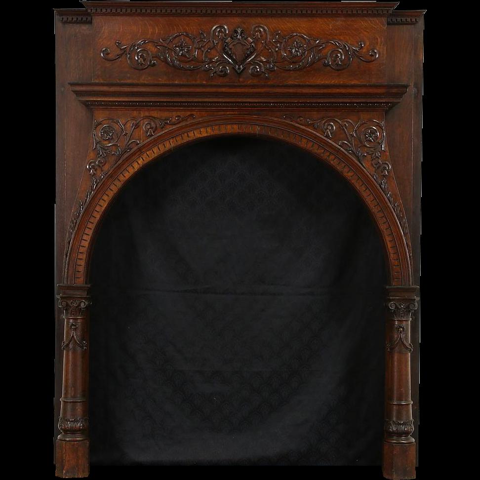 Romanesque 1880 Antique Architectural Salvage Oak Fireplace Mantel