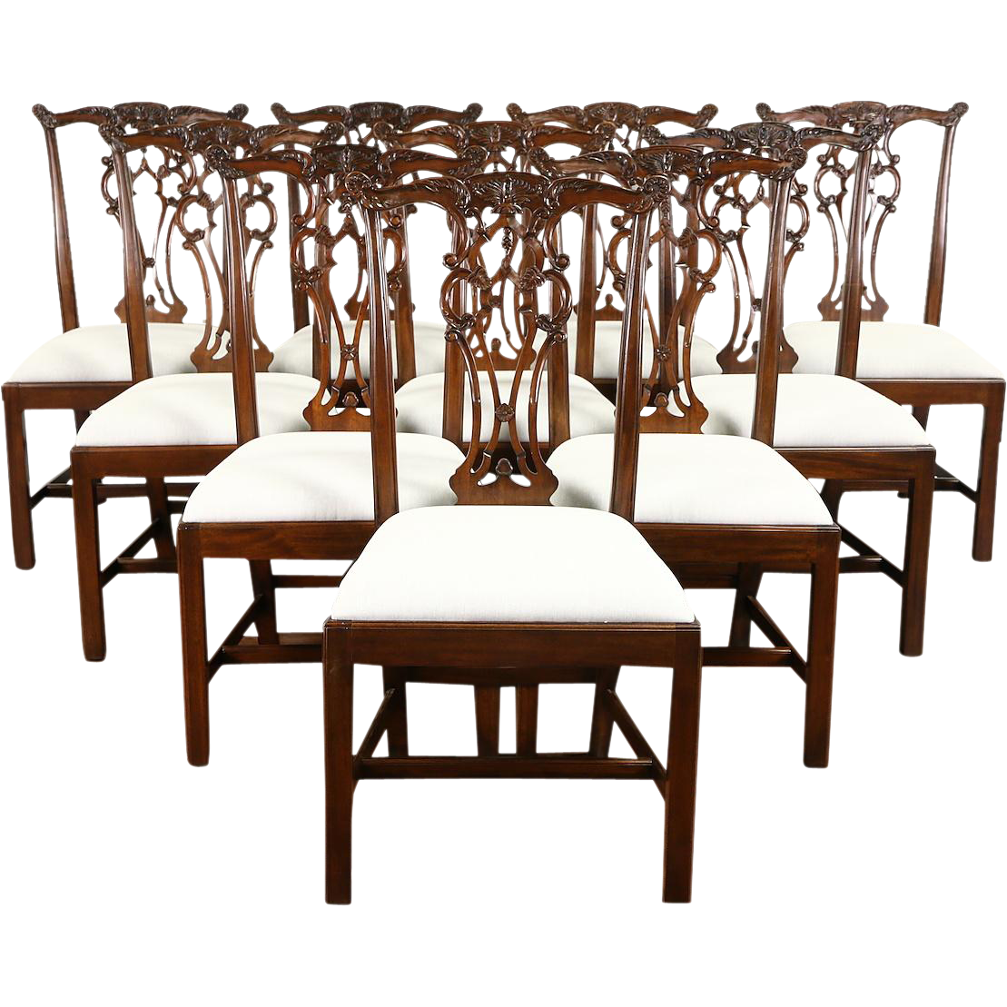 Set of 10 New Georgian Chippendale Carved and Pierced Mahogany Dining Chairs