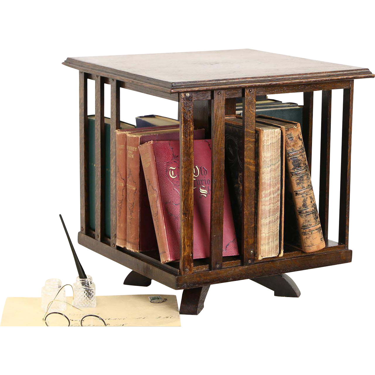 Desktop Revolving Oak 1910 Antique Spinning Bookcase