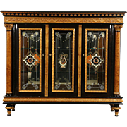 Italian Neoclassical 1930's Vintage China Cabinet, Burl Columns