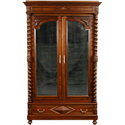 French 1890's Antique Carved Fruitwood Armoire, Beveled Mirrors, Spiral Columns
