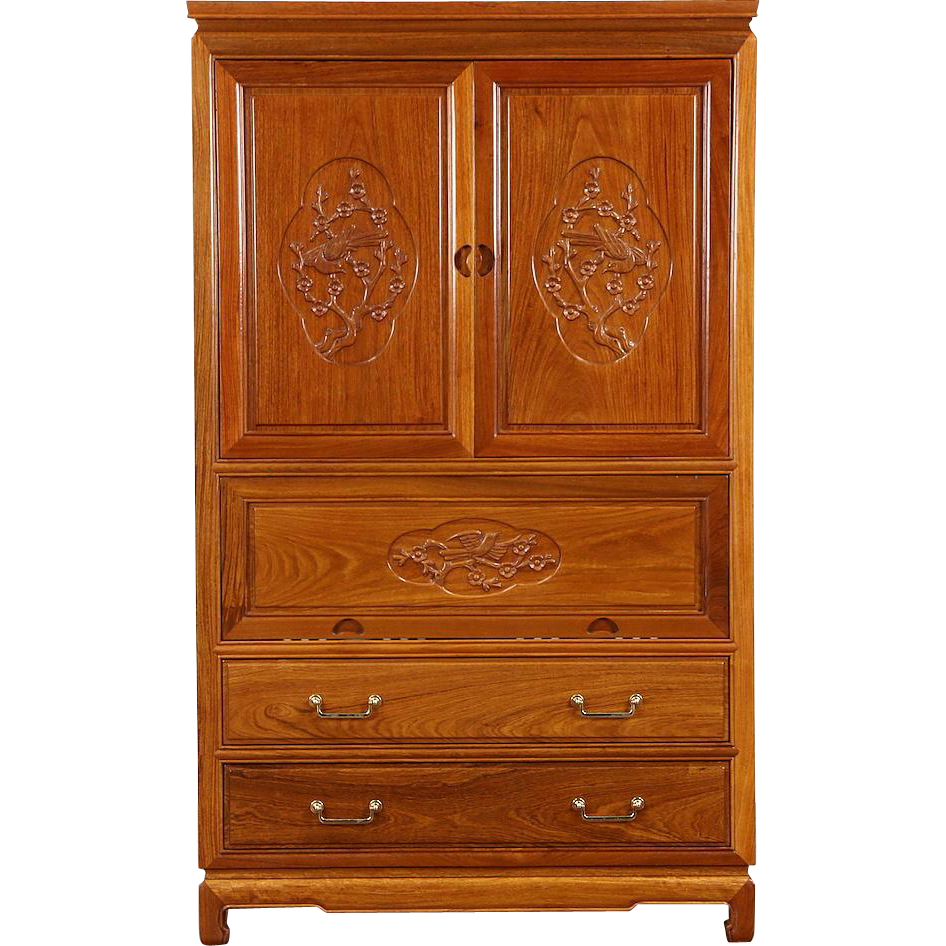 Asian Vintage Hand Carved Rosewood Bar Cabinet, Thailand