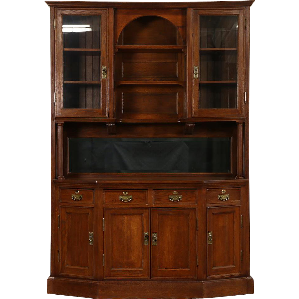 Oak 1895 Victorian Sideboard Server & China Cabinet