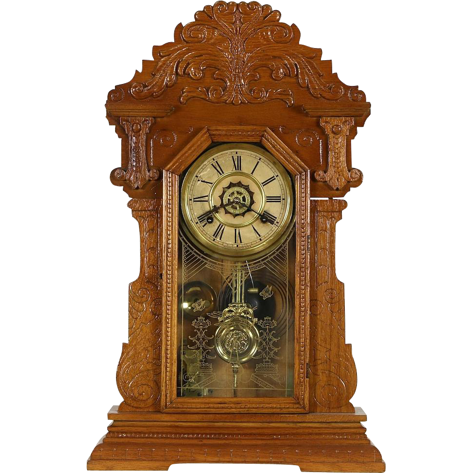 Waterbury Signed Victorian Antique 1890's Carved Oak Shelf Clock, Alarm