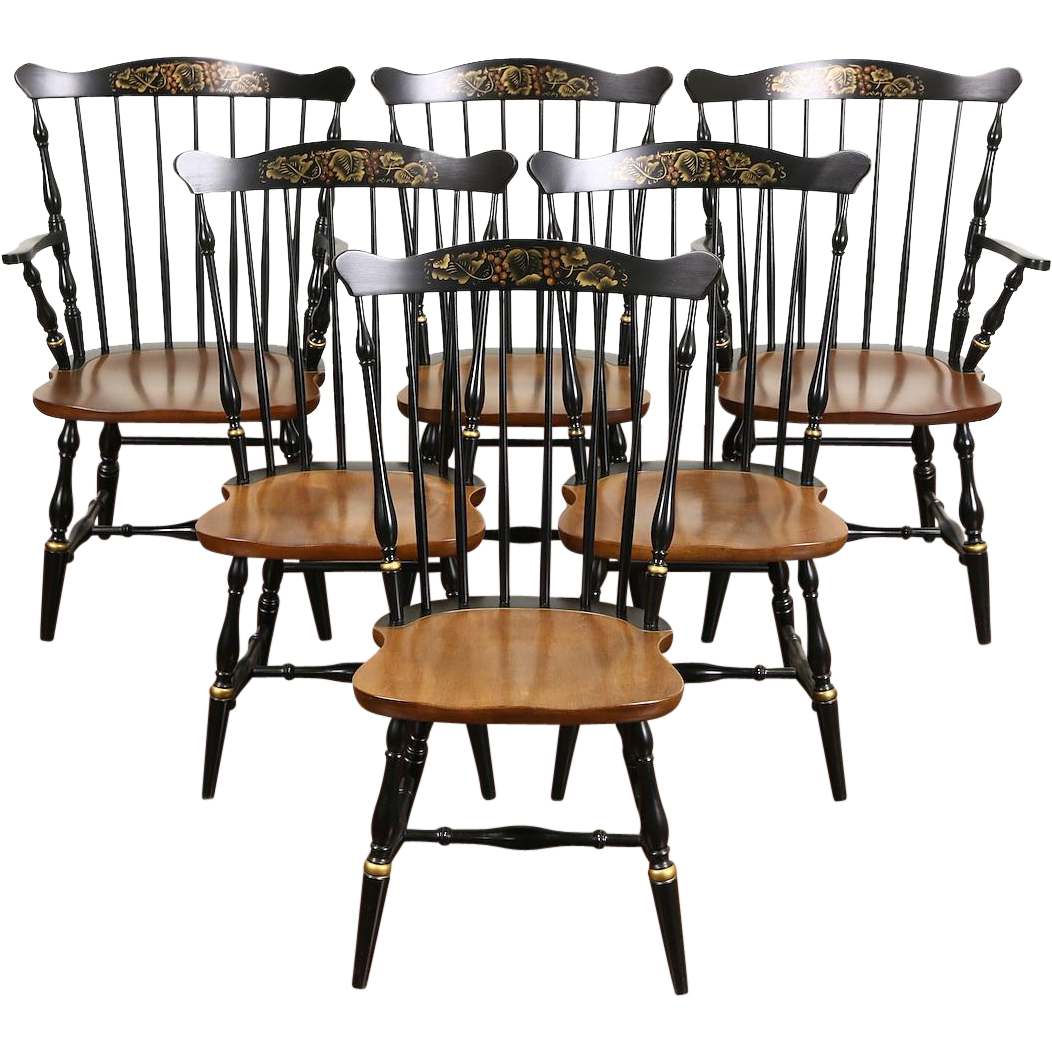 Set of 6 Signed Hitchcock Vintage Stenciled Maple Dining Chairs