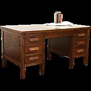 Oak Craftsman 1920's Antique Desk, File Drawer, Pull Out Shelves
