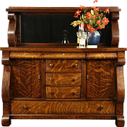 Oak 1910 Antique Empire Sideboard, Server or Buffet, Mirror Gallery