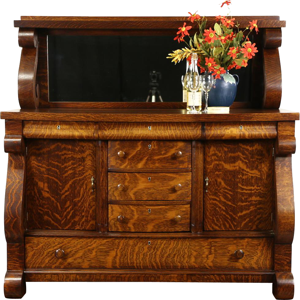 Oak 1910 Antique Empire Sideboard, Server or Buffet, Mirror Gallery