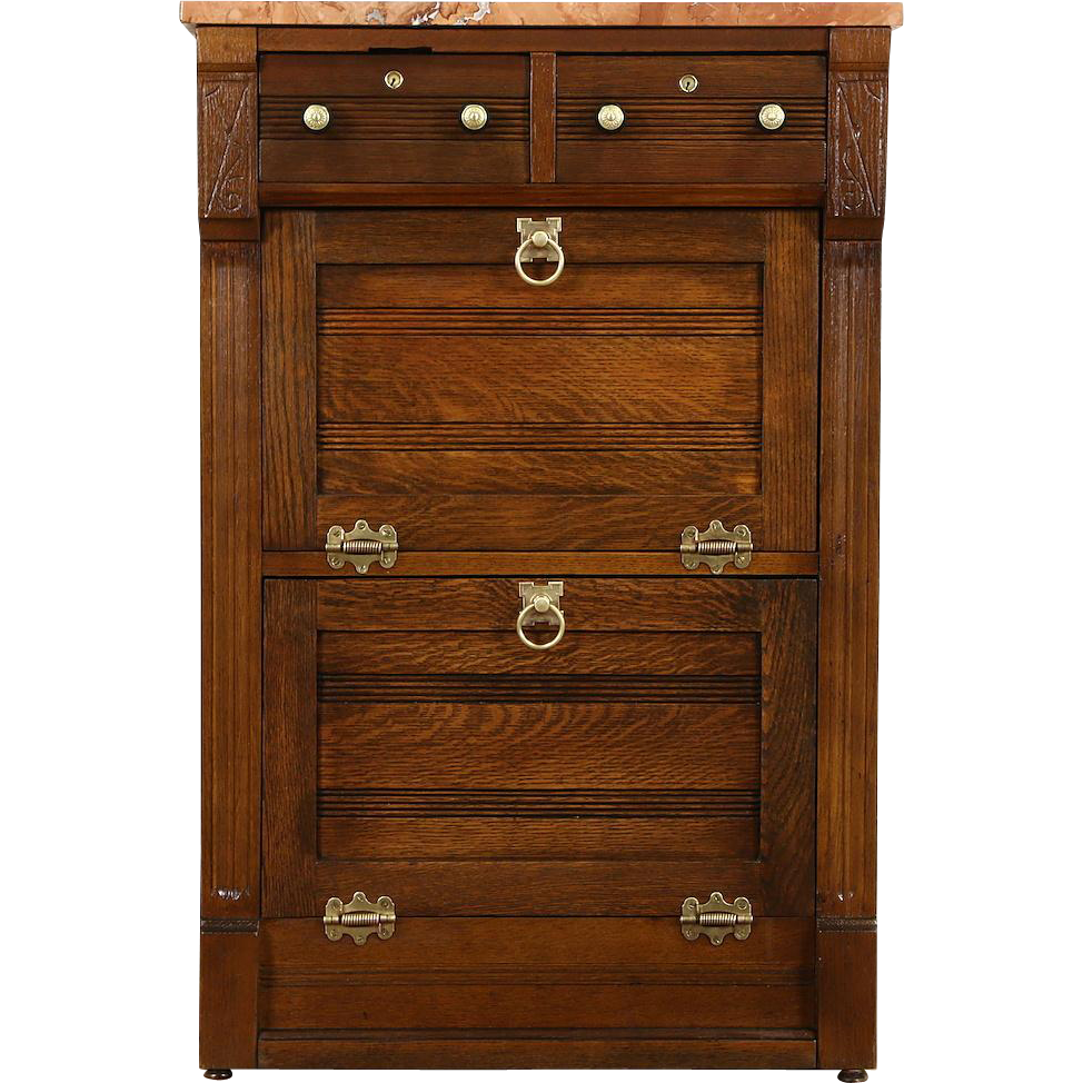 Oak 1890 Antique Barber Shop Cabinet or Nightstand, Marble Top