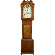 English Georgian 1800 Antique Oak & Mahogany Signed Grandfather Long Case Clock