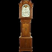 English Georgian 1800 Antique Oak & Mahogany Signed Grandfather Long Case Clock