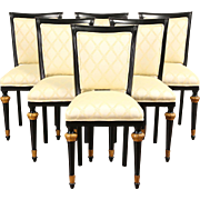 Italian 1930's Vintage Set of 6 Dining Chairs, New Upholstery
