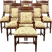Victorian Eastlake Cherry Set of 6 Antique 1880 Dining Chairs Newly Upholstered