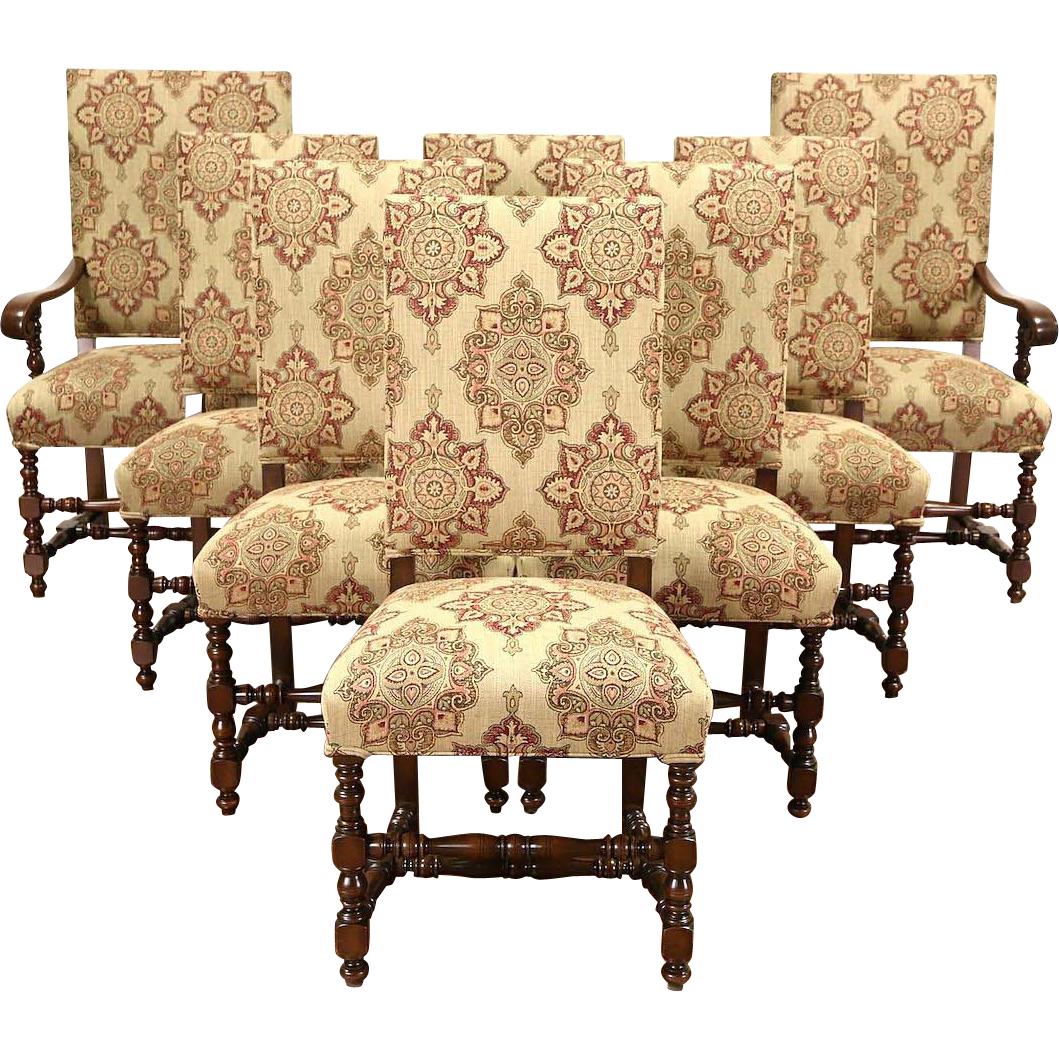 Set of 8 Antique 1915 Walnut Scandinavian Dining Chairs, New Upholstery