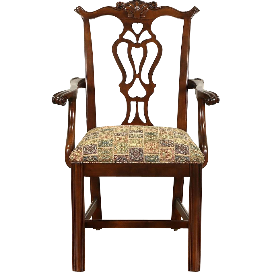 Georgian Chippendale 1950 Vintage Desk Chair, New Upholstery