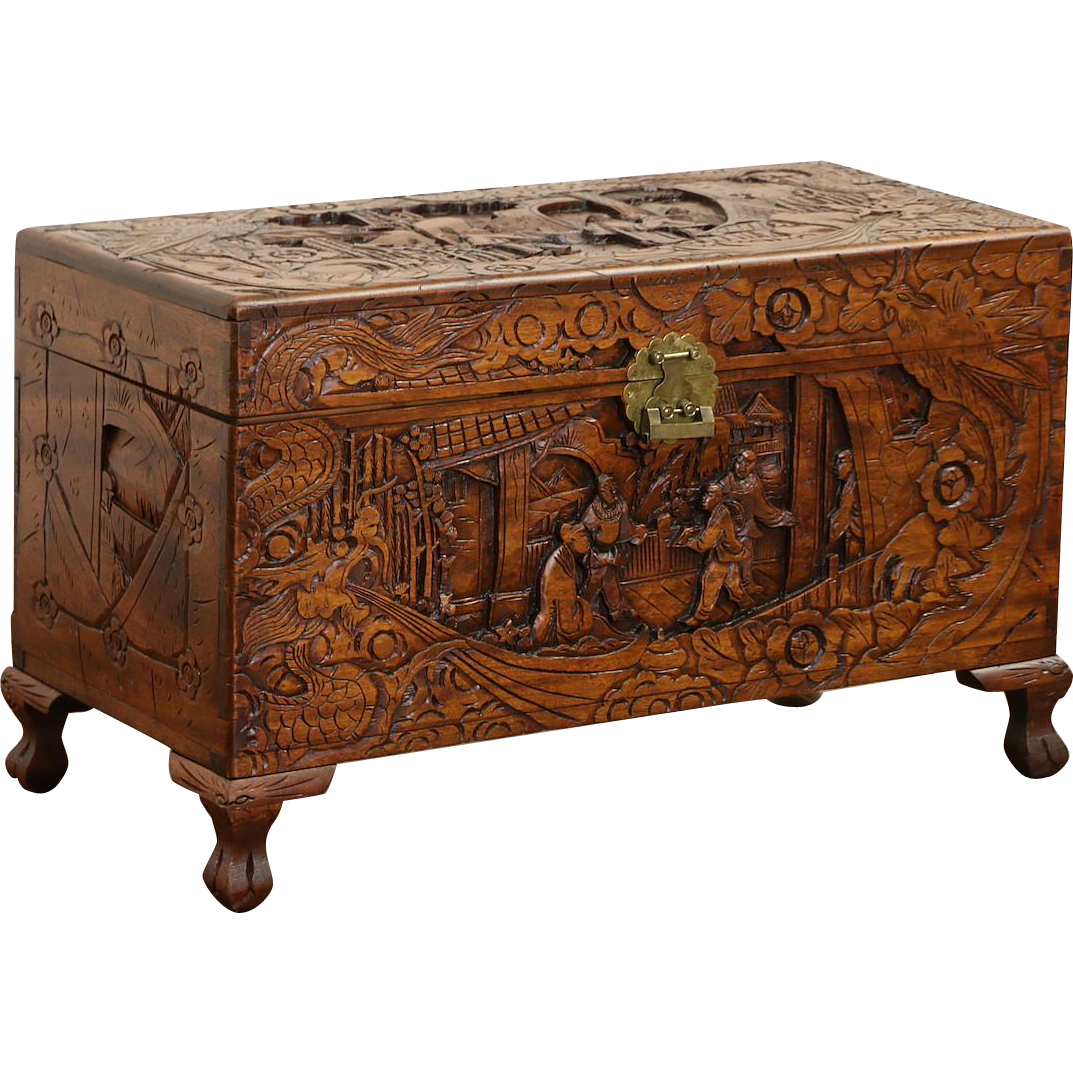 Chinese Carved Vintage Trunk, Chest or Coffee Table