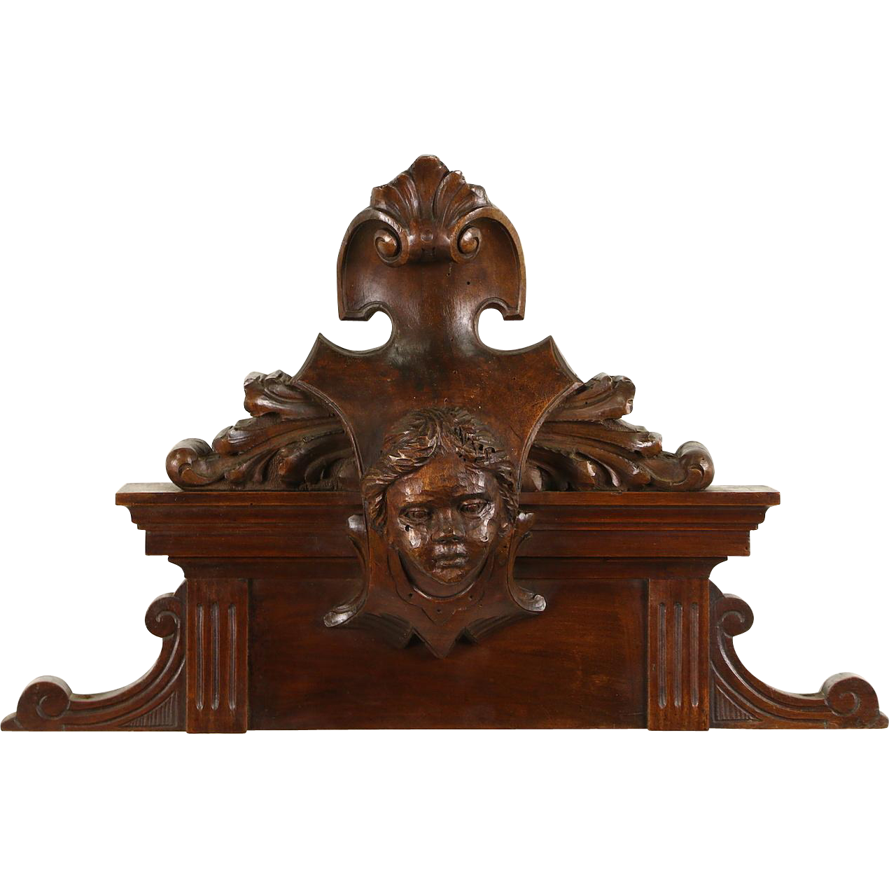 "Italian 1890 Antique 24"" Walnut Architectural Fragment, Carved Head"