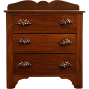 Victorian 1870 Antique Walnut Small Chest, Nightstand or Commode