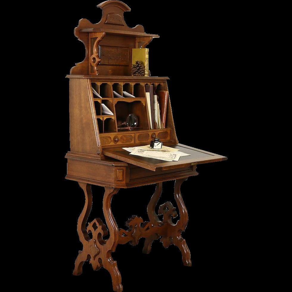Victorian 1875 Antique Hand Carved Walnut Secretary Desk