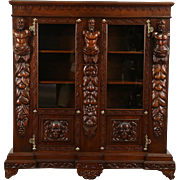 Italian Renaissance Carved 1900 Antique Walnut Library Bookcase or China Cabinet