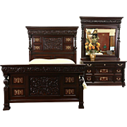 Queen Size 1890 Antique 2 Pc. Carved Bedroom Set, Inlaid Bronze & Pearl