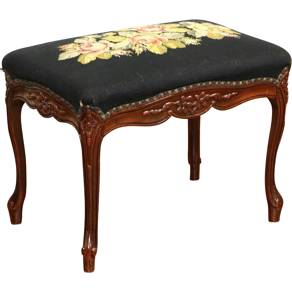 Hand Carved 1920's Stool or Bench, Hand Stitched Needlepoint