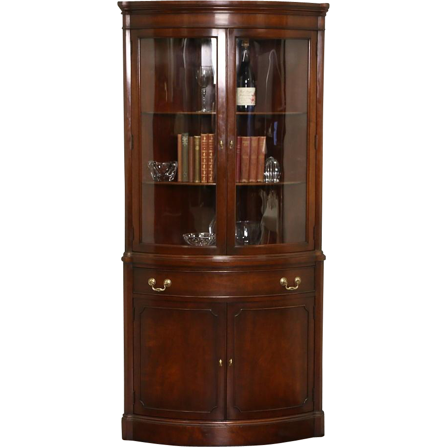 Georgian Vintage Mahogany Curved Glass Corner Cabinet, Signed Landstrom