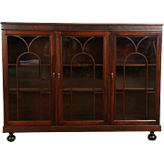 Triple Mahogany 1915 Antique Library Bookcase, Arched Grillwork