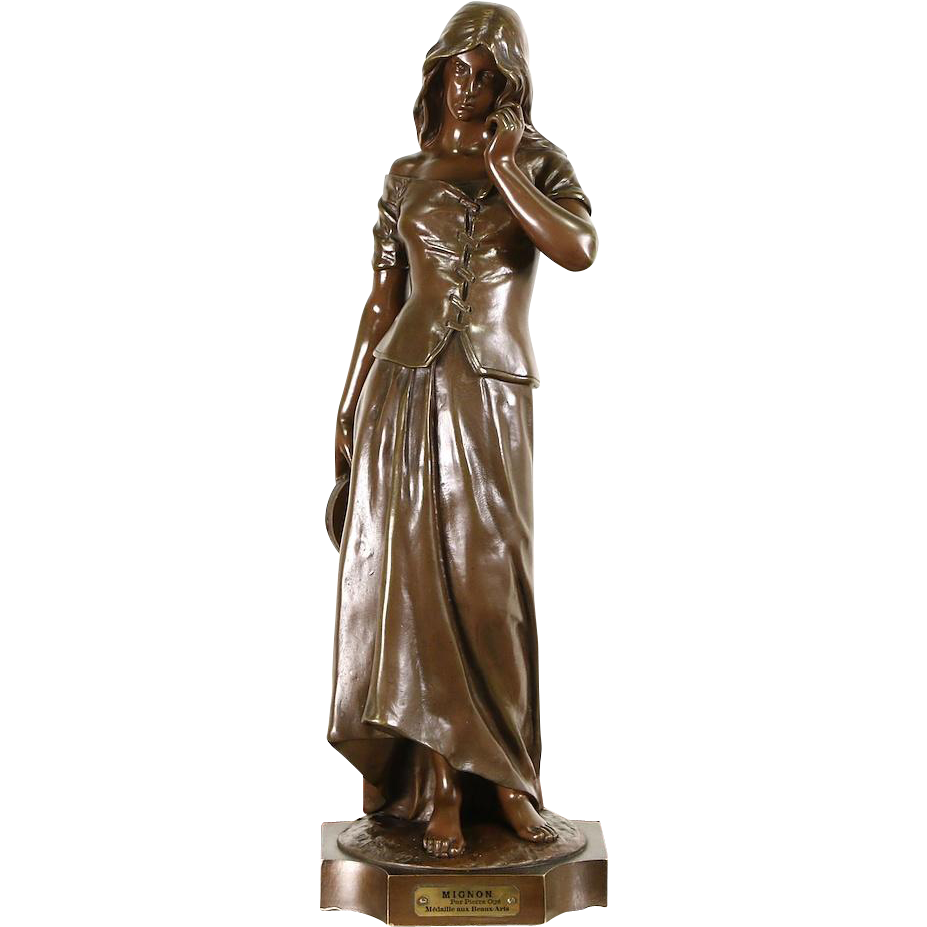 Mignon 1900 Antique Bronze Statue, Signed Pierre Oge Sculpture