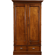 Walnut 1890 Antique Armoire, Wardrobe or Closet