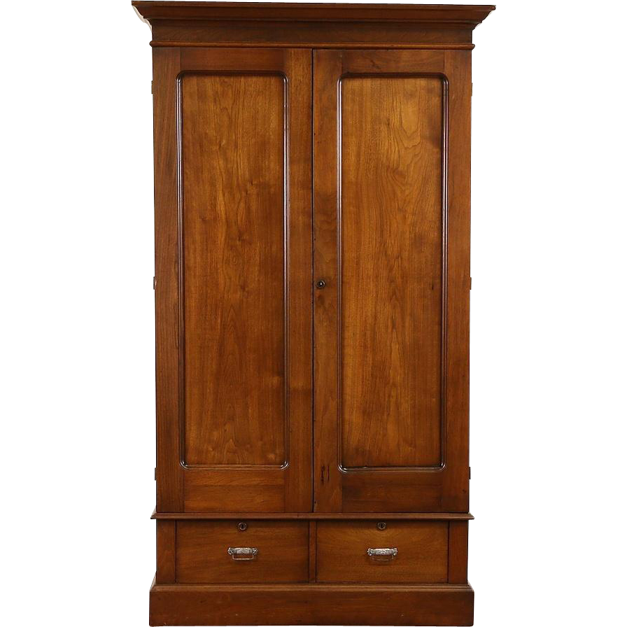 Walnut 1890 Antique Armoire, Wardrobe or Closet