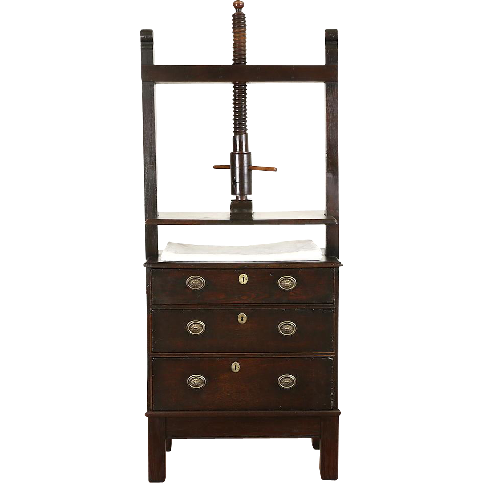 Oak Bookbinder 1800 Antique English Press & Cabinet